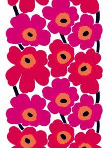 ファブリック《ウニッコ》(ケシの花)、図案デザイン:マイヤ・イソラ、1964年Unikko pattern designed for Marimekko by Maija Isola in 1964