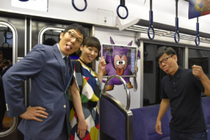 お披露目には、「ドラゴンクエスト大好き芸人」こと竹若元博さん(=右・バッファロー吾郎)のほか宇都宮まきさん(中央)、浅越ゴエさんも登場