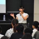 元NMB48の島田玲奈さん カフェ開業ノウハウを学生に指南<br />大阪学院大学で起業セミナー