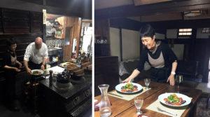 おくどさんのある台所でサイモンさんが料理して、慶子さんがサービスする。机上がカンガルーのソテー