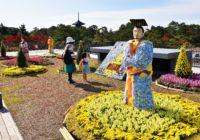 天平大菊人形展と奈良大和四寺巡礼パネル展奈良公園バスターミナルで 11月8日まで