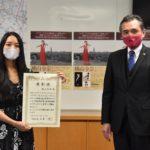 箕面市出身バイオリニスト 横山令奈さんが市長訪問 「イタリアでも箕面をピーアール」